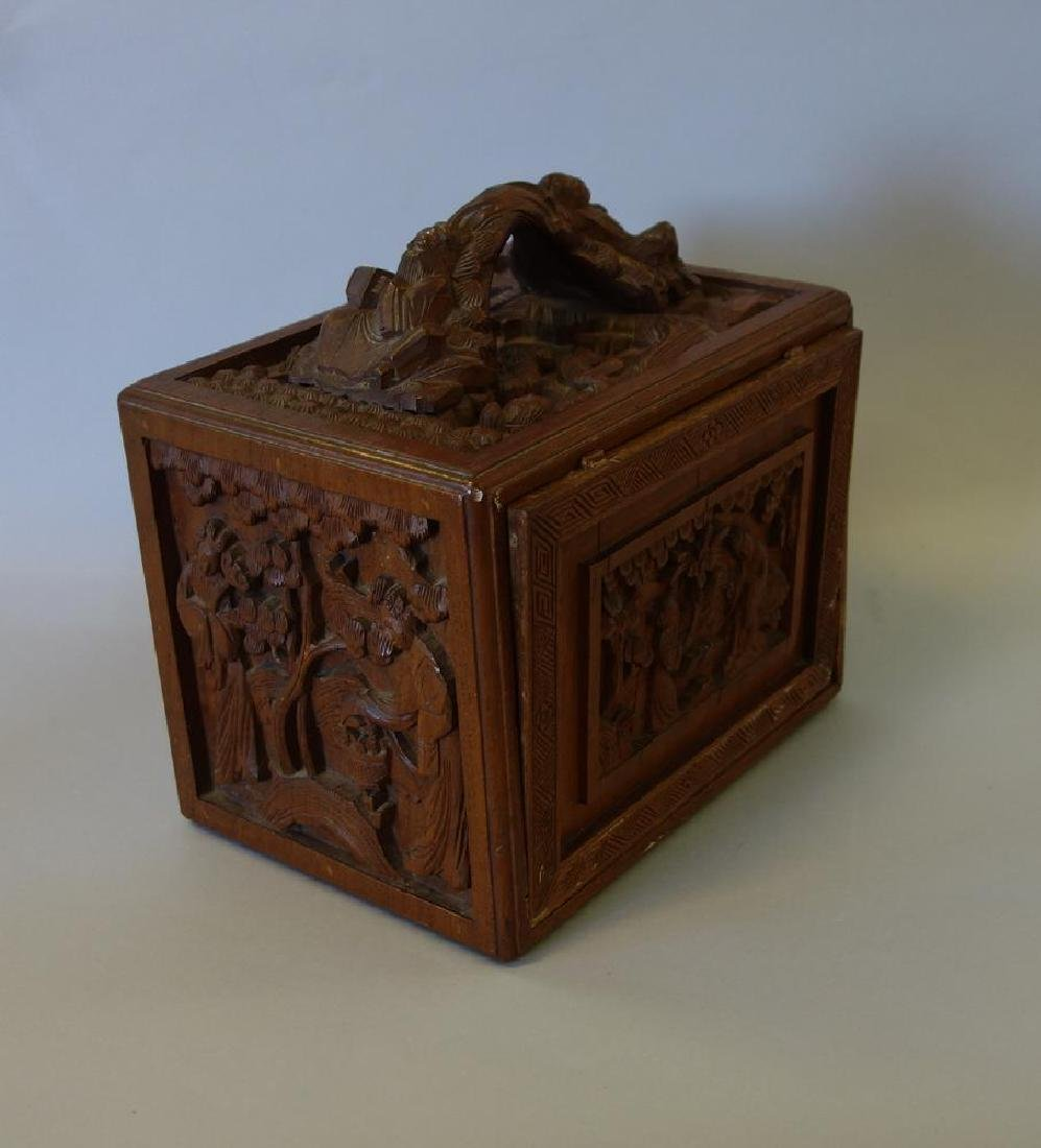 Chinese Mahjong Set in Carved Wood Case - 3