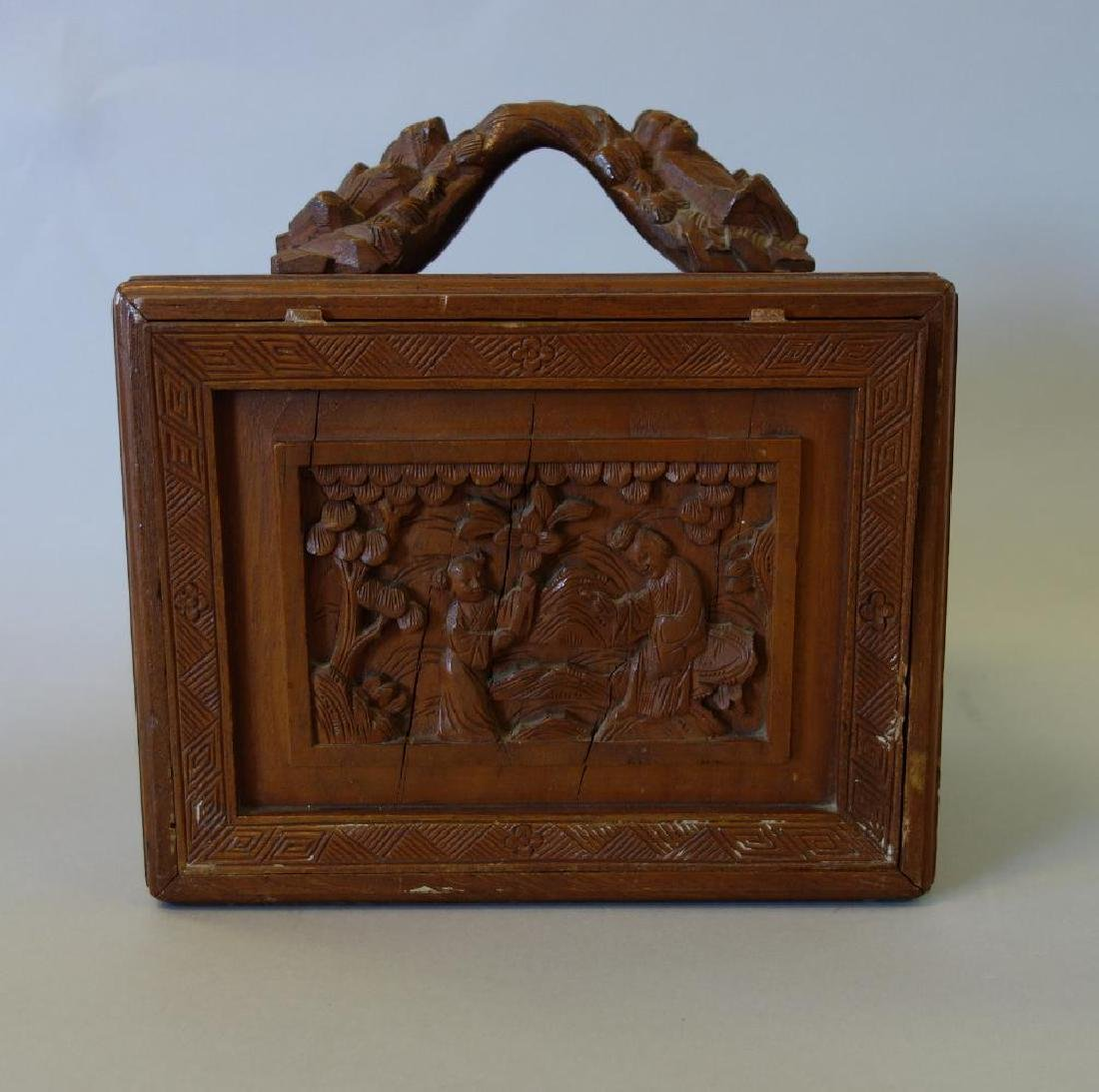 Chinese Mahjong Set in Carved Wood Case - 5