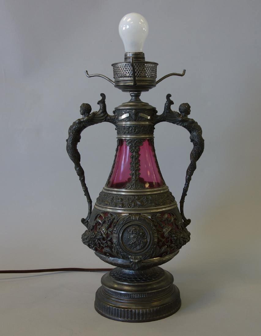 Spelter & Cranberry Glass Figural Lamp, Ariadne &