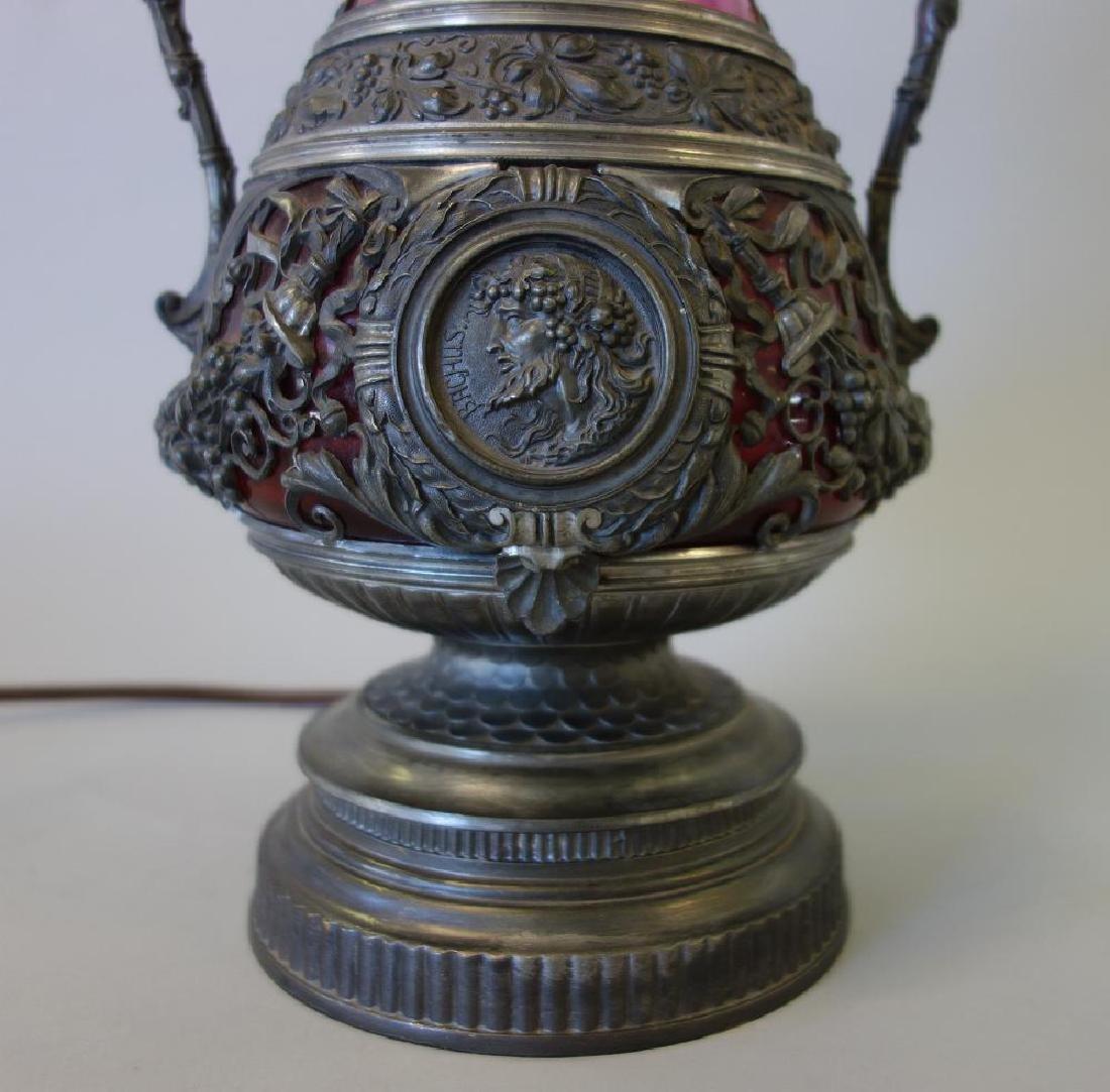 Spelter & Cranberry Glass Figural Lamp, Ariadne & - 3