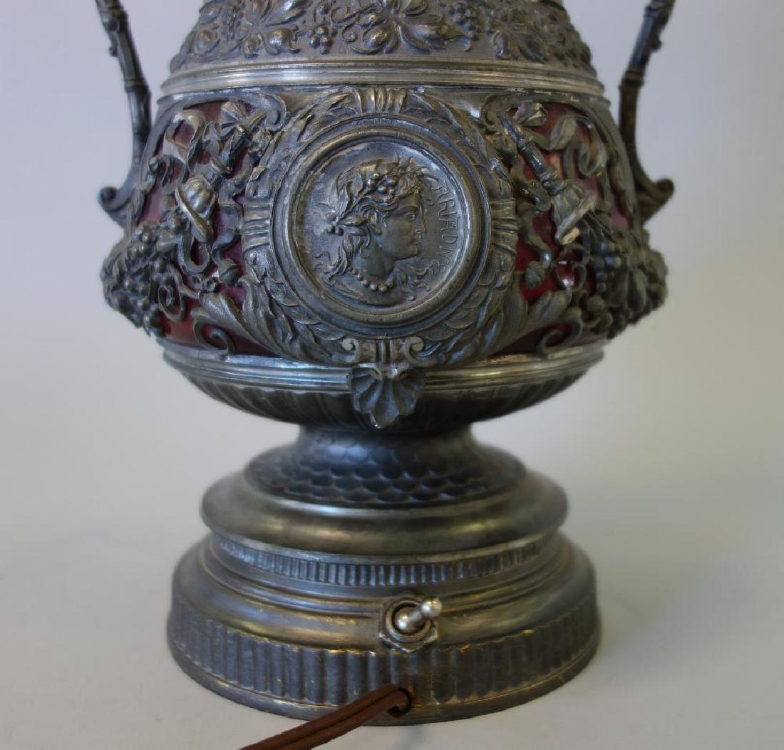 Spelter & Cranberry Glass Figural Lamp, Ariadne & - 4