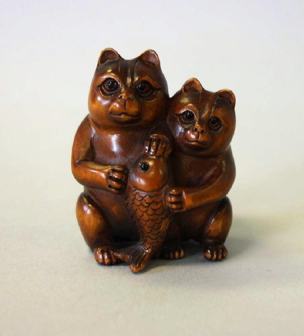 Carved Boxwood Netsuke, Two Cats and a Fish