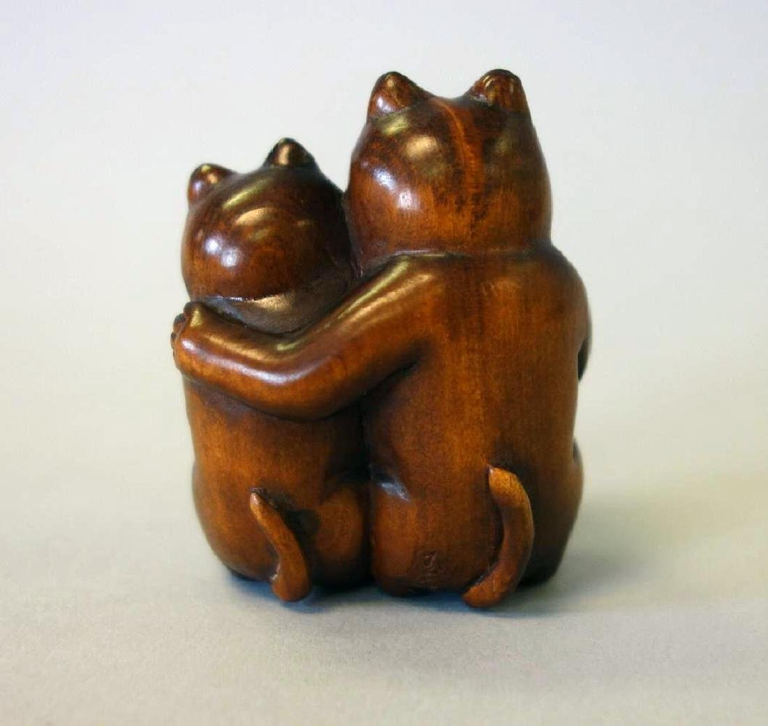 Carved Boxwood Netsuke, Two Cats and a Fish - 2