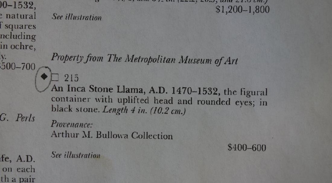 Inca Stone Llama, Bullowa Collection & Sotheby's - 4
