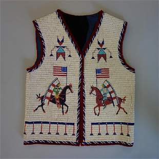 Sioux Beaded Pictorial Vest, 30 Star Flag