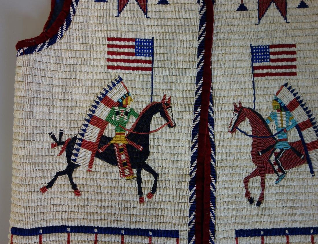 Sioux Beaded Pictorial Vest, 30 Star Flag - 2