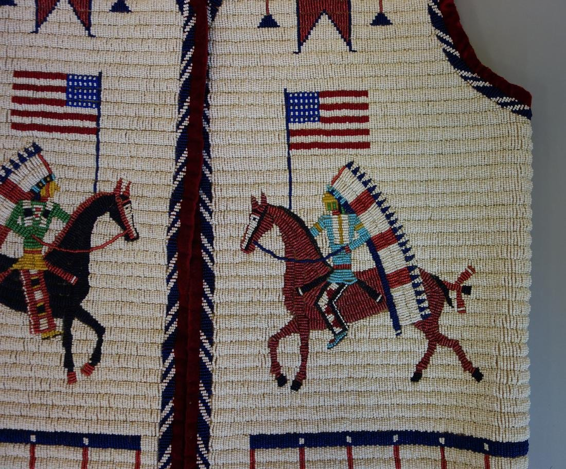 Sioux Beaded Pictorial Vest, 30 Star Flag - 3