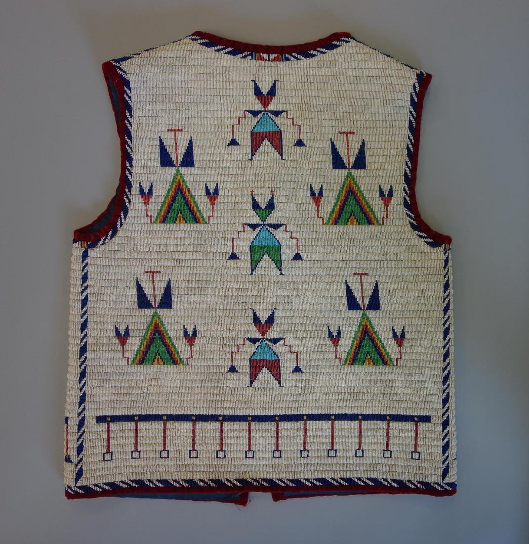 Sioux Beaded Pictorial Vest, 30 Star Flag - 4
