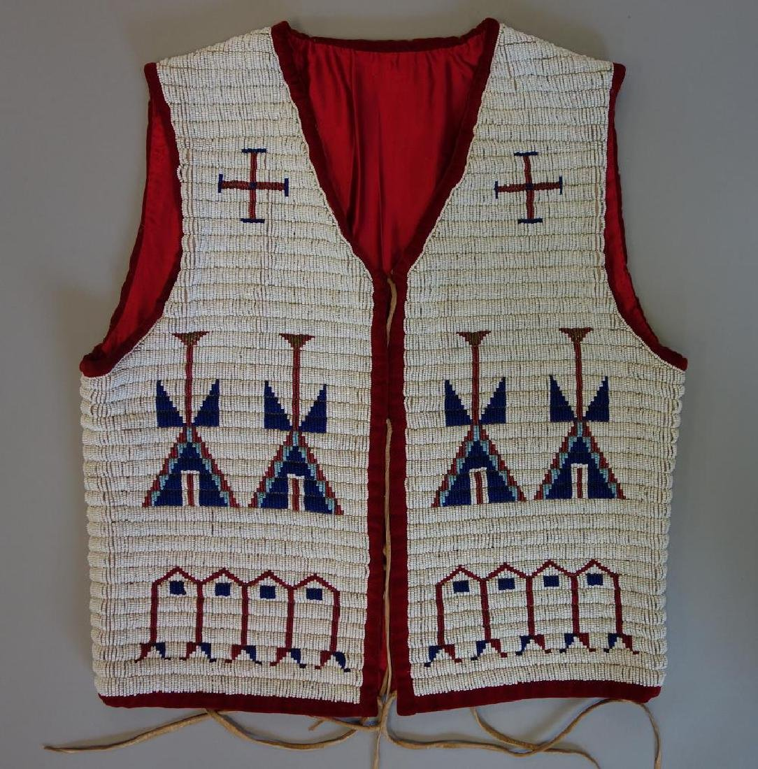 Sioux Beaded Pictorial Vest, Traditional Motif