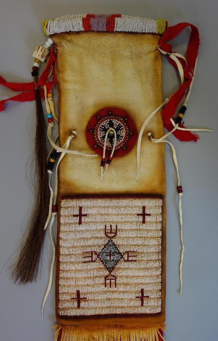 Sioux Beaded Hide Pipe Bag - 3
