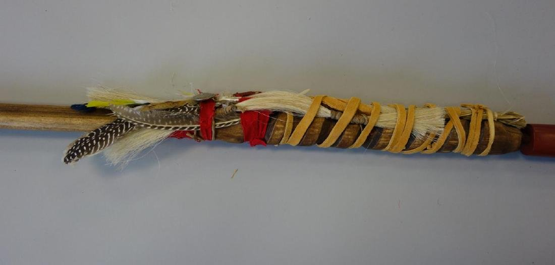 Eastern Sioux Pipe, Catlinite, Wood & Feathers - 2