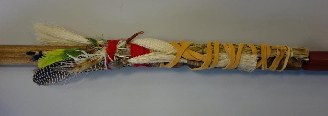 Eastern Sioux Pipe, Catlinite, Wood & Feathers - 3