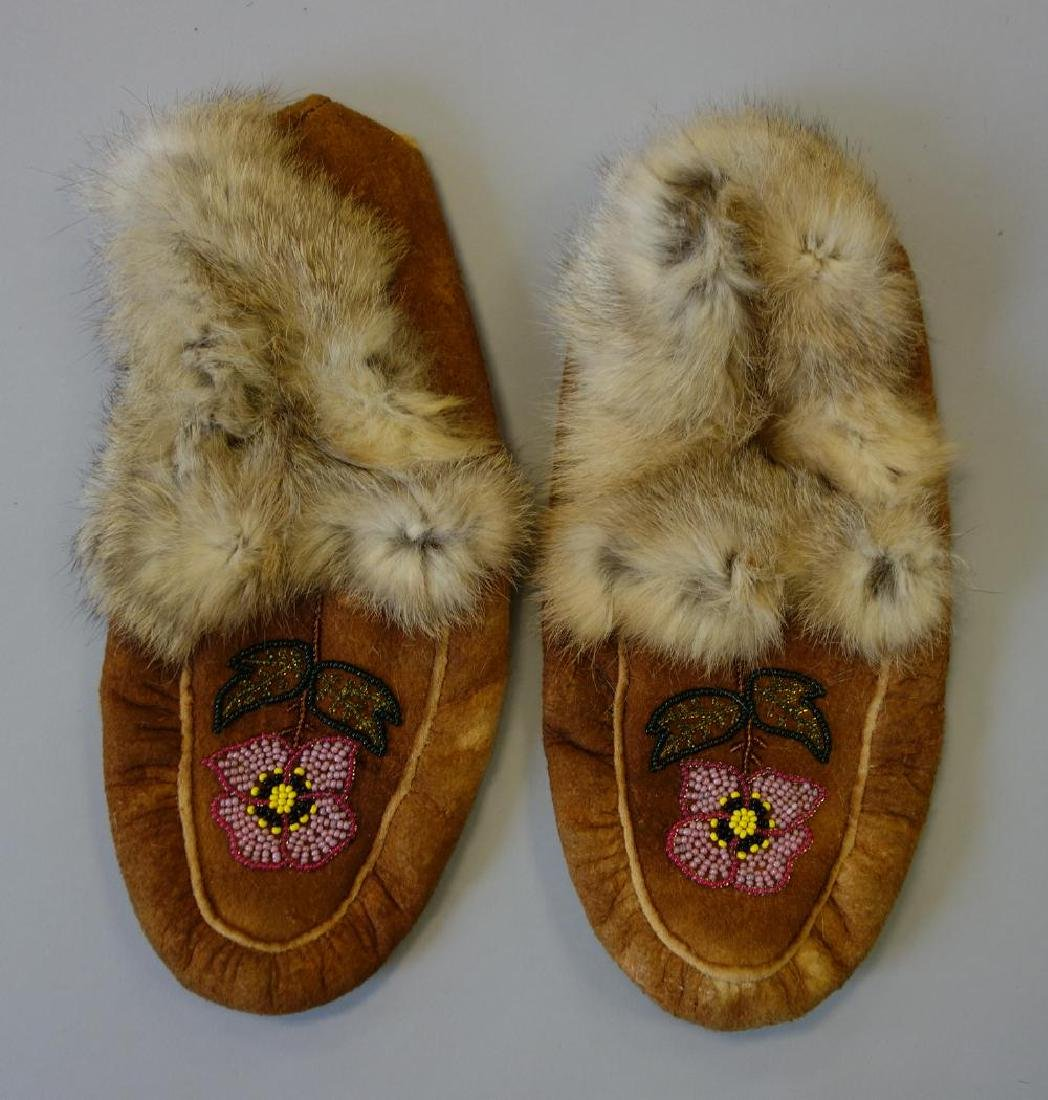 Tlingit Beaded Hide & Fur Moccasins