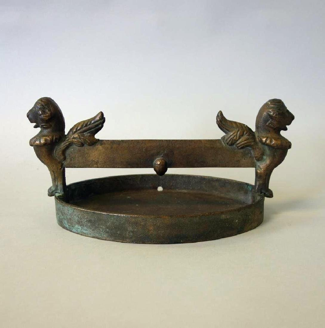 19thc Bronze Boot Scrapper, Winged Griffins