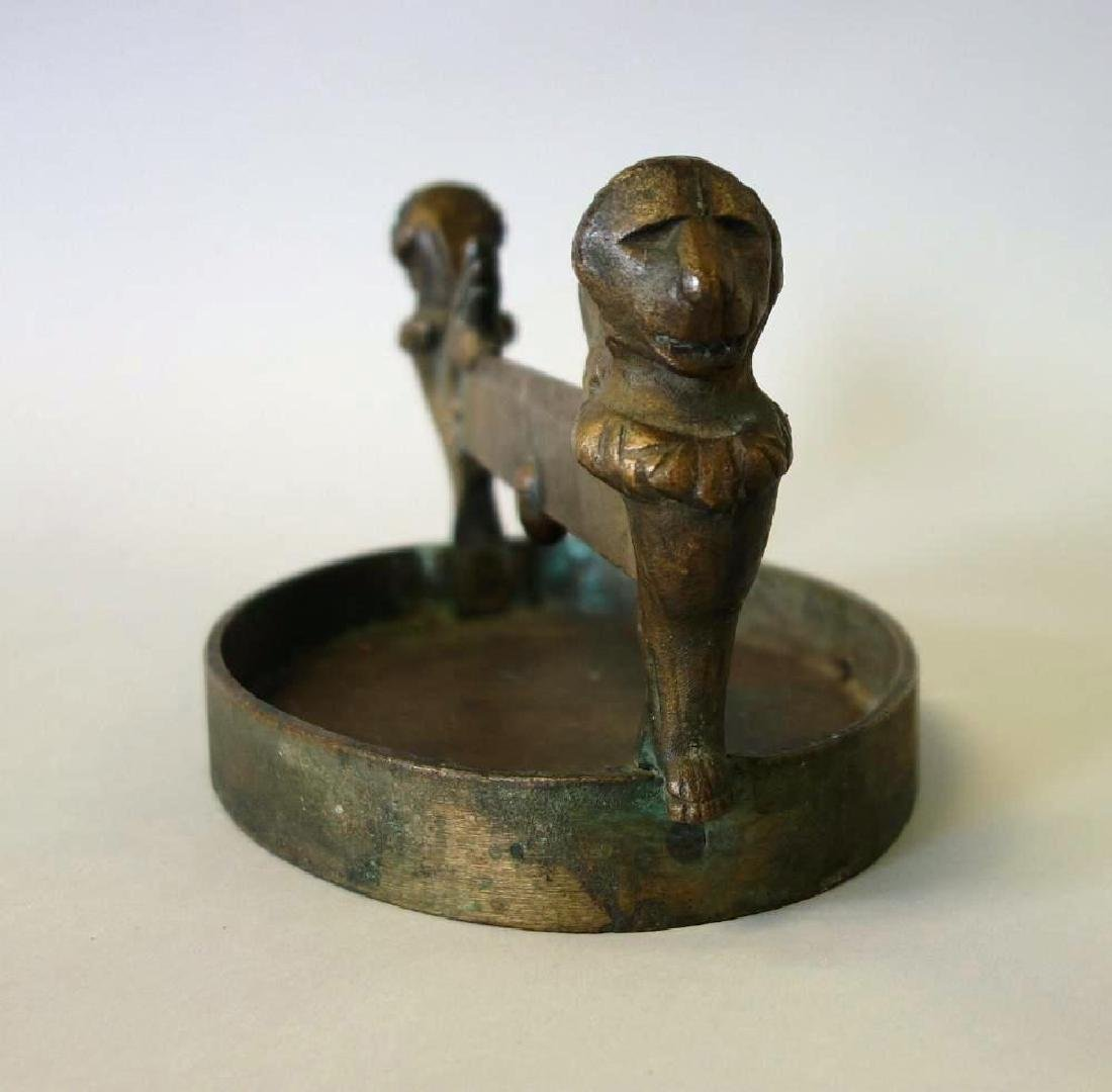 19thc Bronze Boot Scrapper, Winged Griffins - 2
