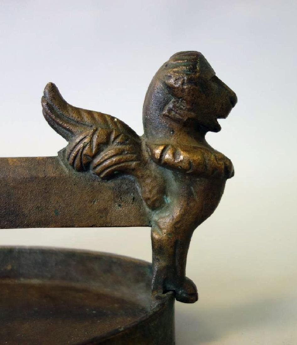 19thc Bronze Boot Scrapper, Winged Griffins - 3
