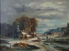 19thc European Dutch Skating Scene, Oil on Canvas