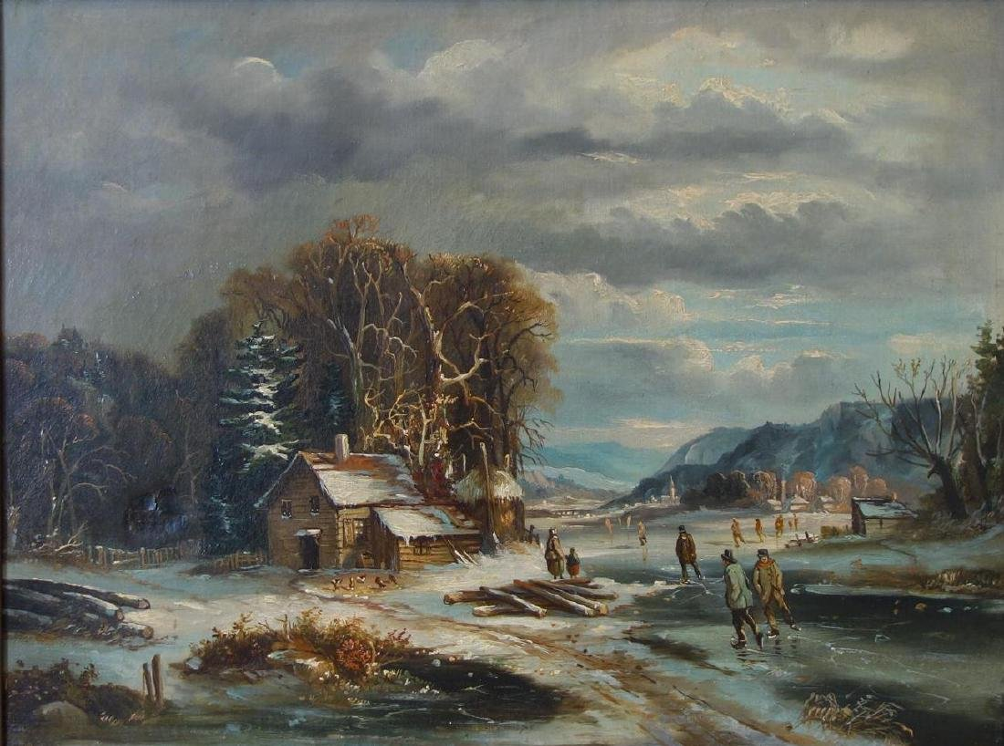 19thc European Dutch Skating Scene, Oil on Canvas
