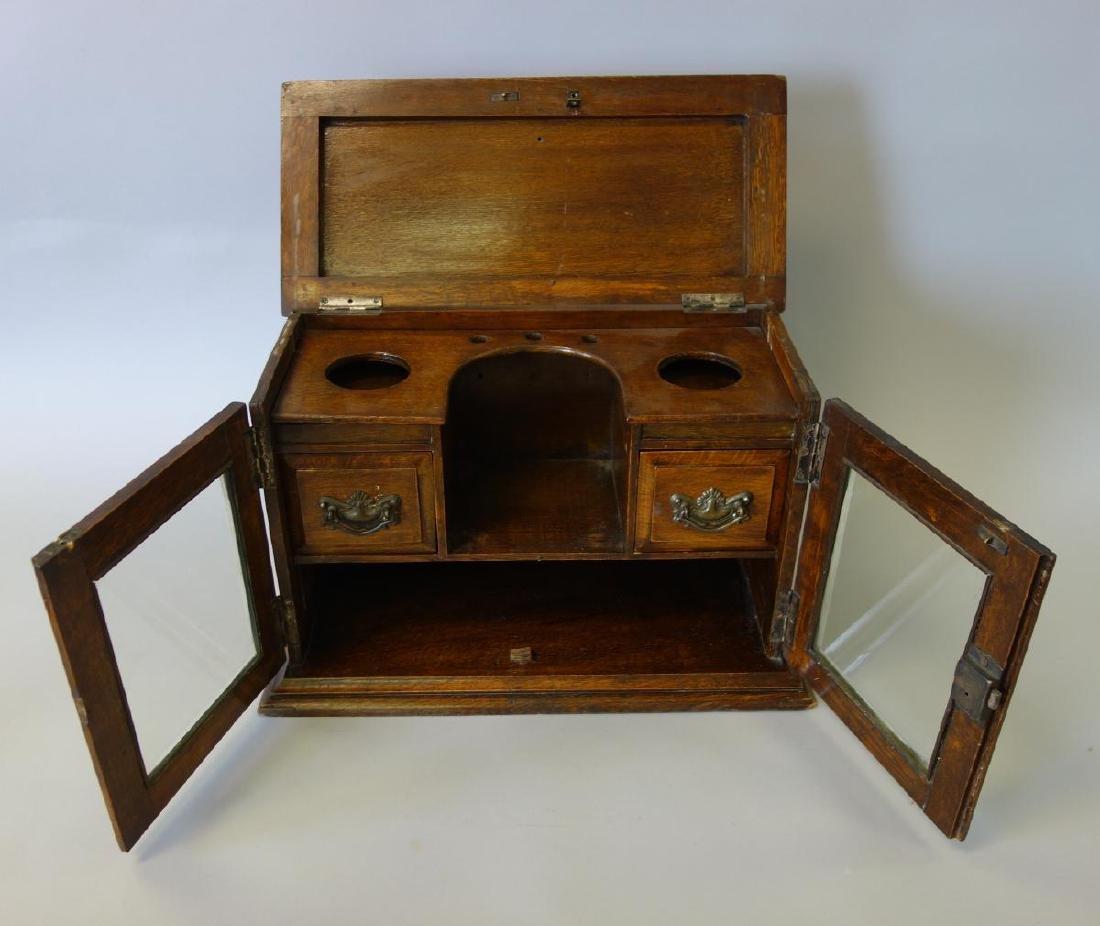 19thc English Oak Tea Caddy Cabinet