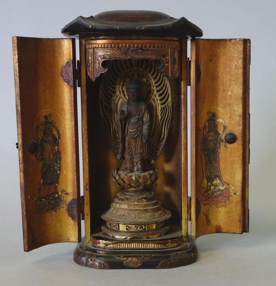 Fine 19thc Japanese Lacquer Traveling Shrine