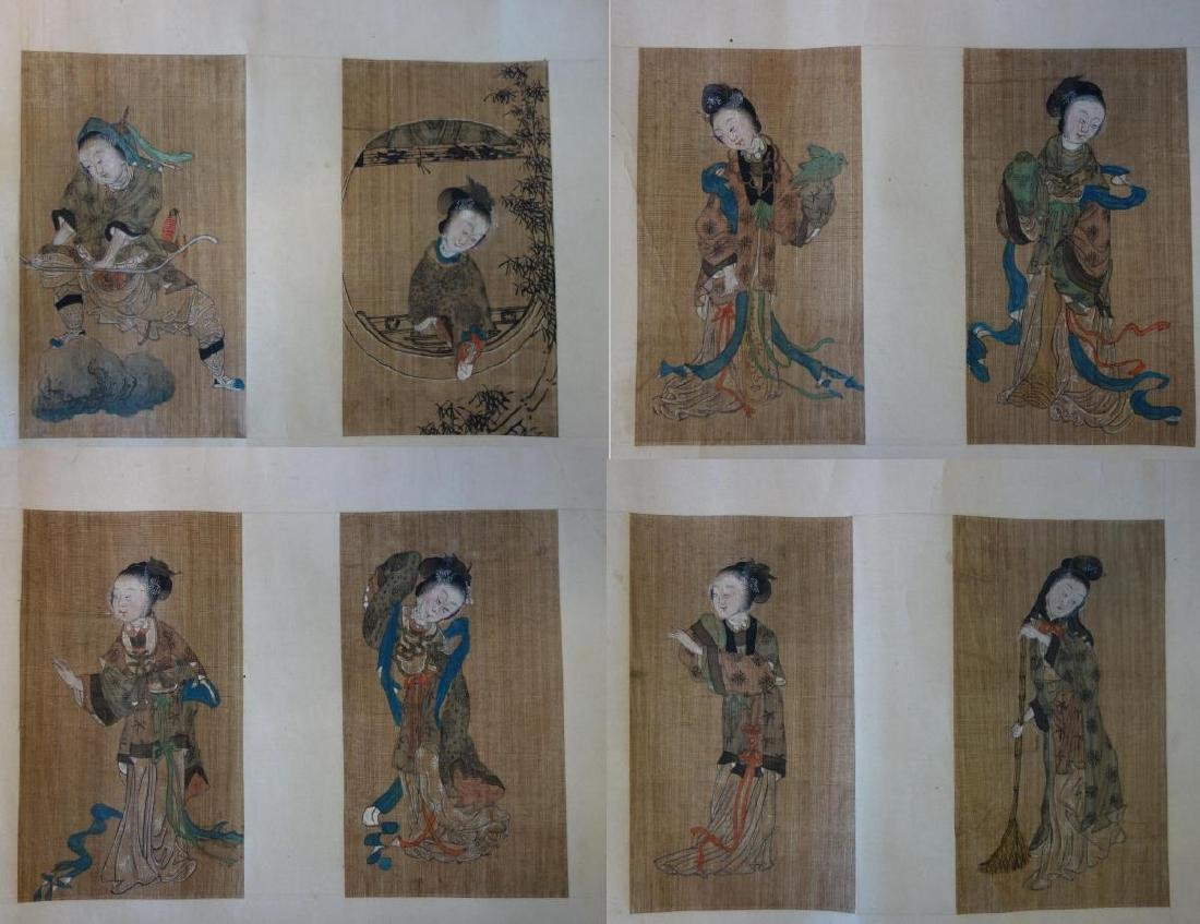 Chinese Watercolor Paintings, 8 Beauties on Scroll
