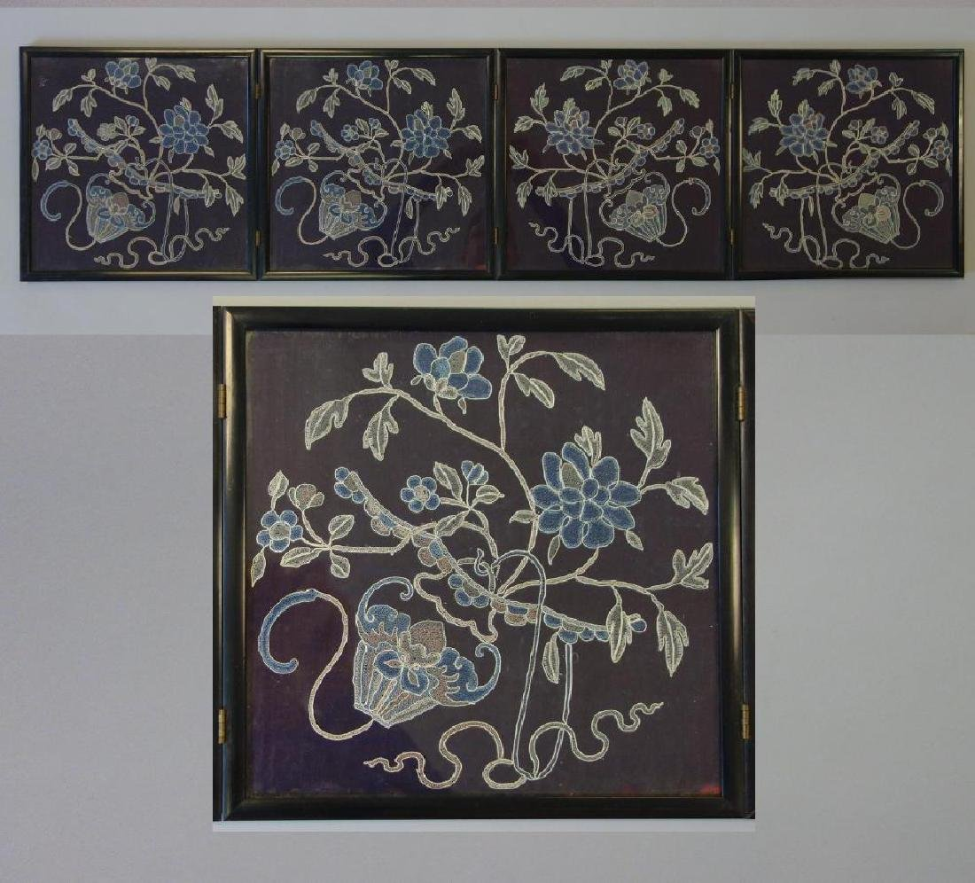 Chinese Embroidered 4-Panel Table Screen
