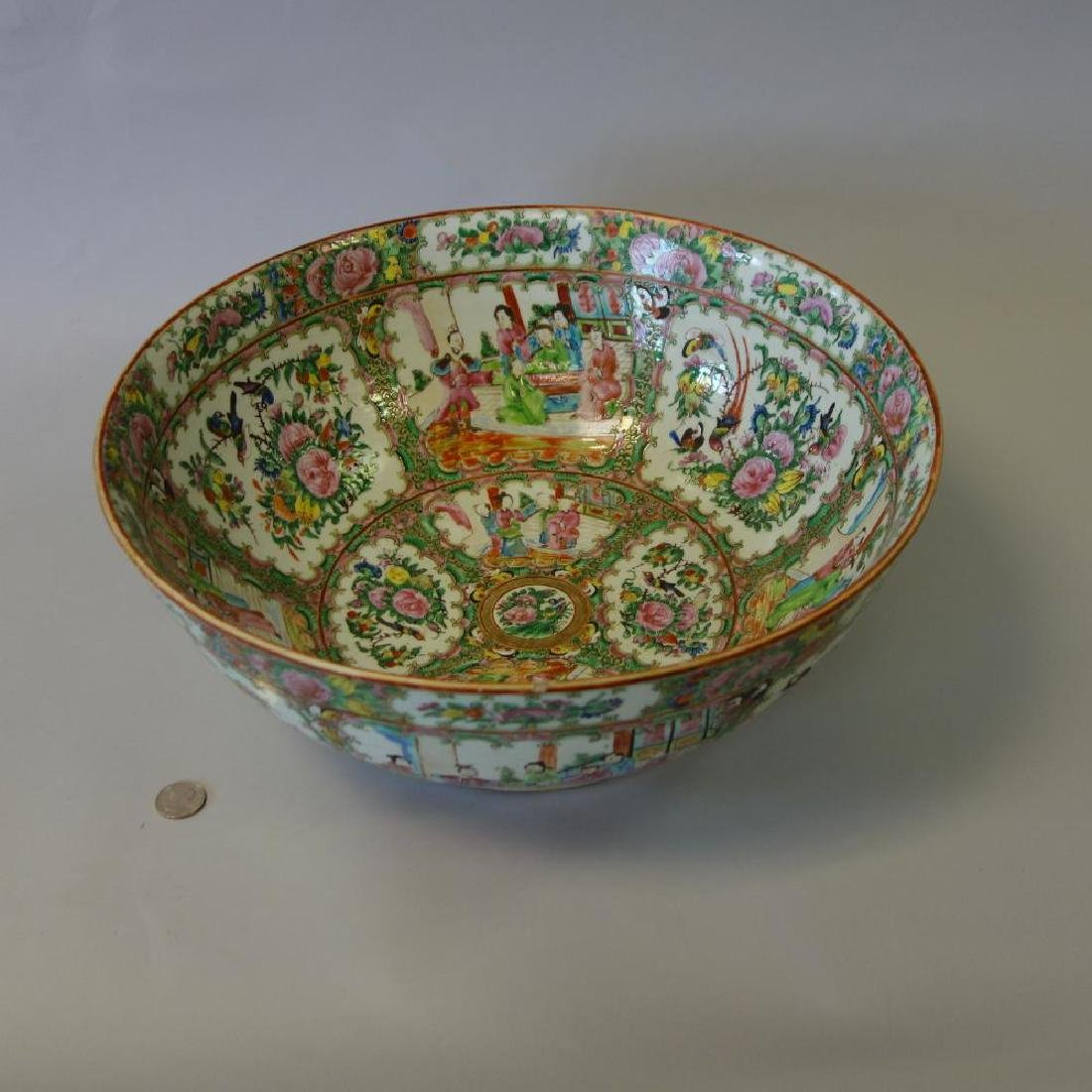 19th Chinese Punch Bowl, Rose Medallion