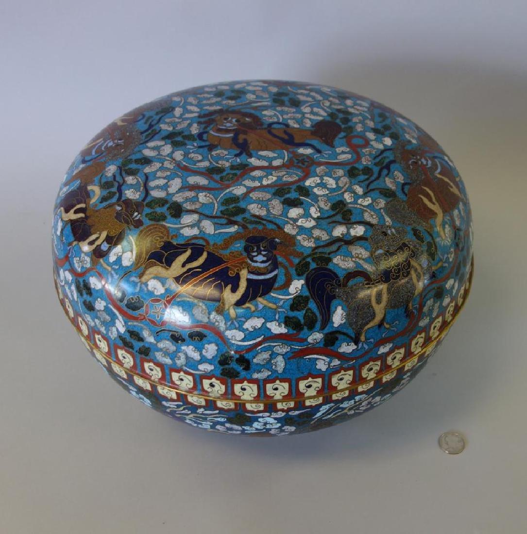 Large Chinese Cloisonne Round Box, Signed