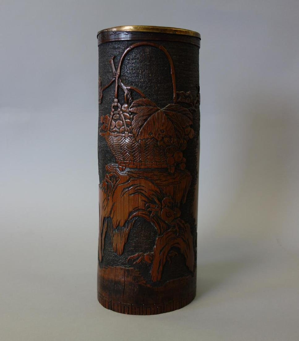 Large Chinese Carved Bamboo Wood Brush Pot