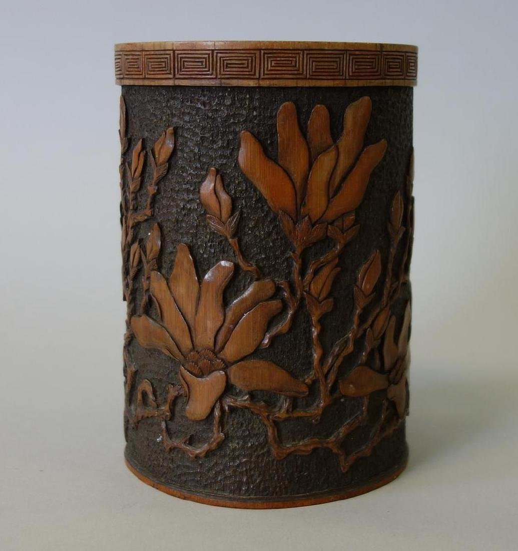 Chinese Carved Bamboo Wood Brush Pot