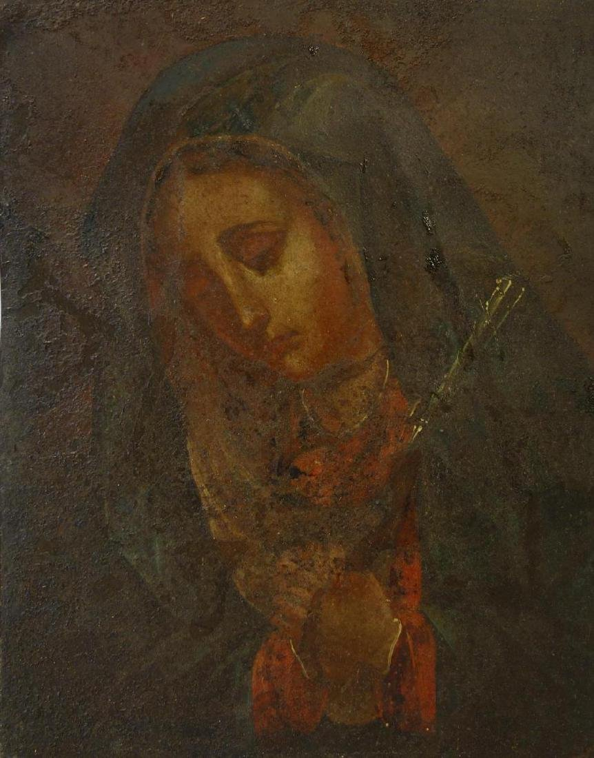 19thc Portrait of The Virgin Mary, Oil on Metal