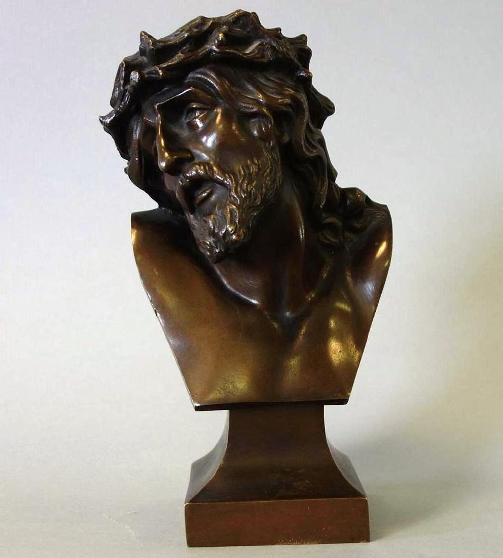 German Bronze Bust Of Crucified Christ, Signed