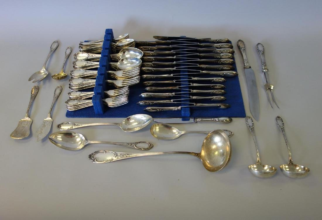 German 800 Silver Flatware, Wilkens & Sohne 98 Pcs