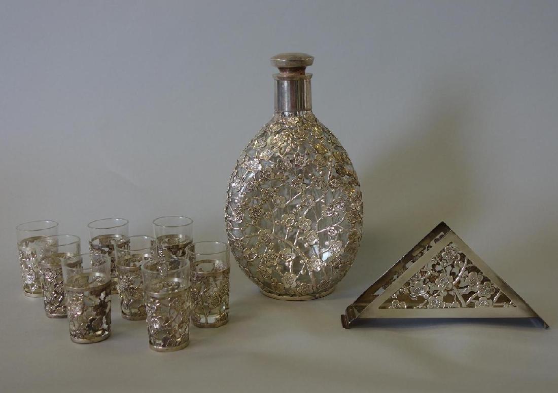 Sterling 950 Decanter, Cordials & Napkin Holder