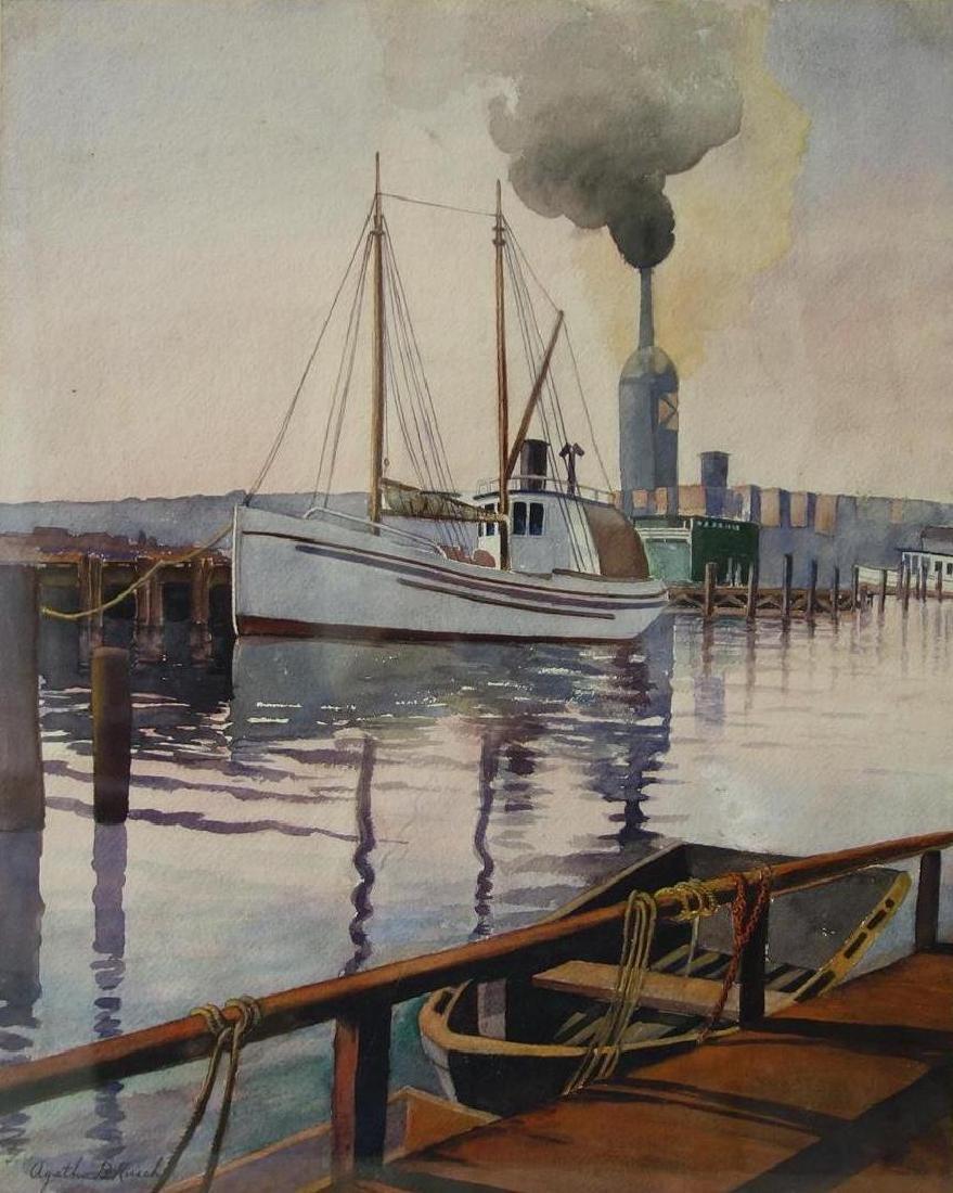 Agatha B Kirsch (1879-1953) Fisherman's Dock