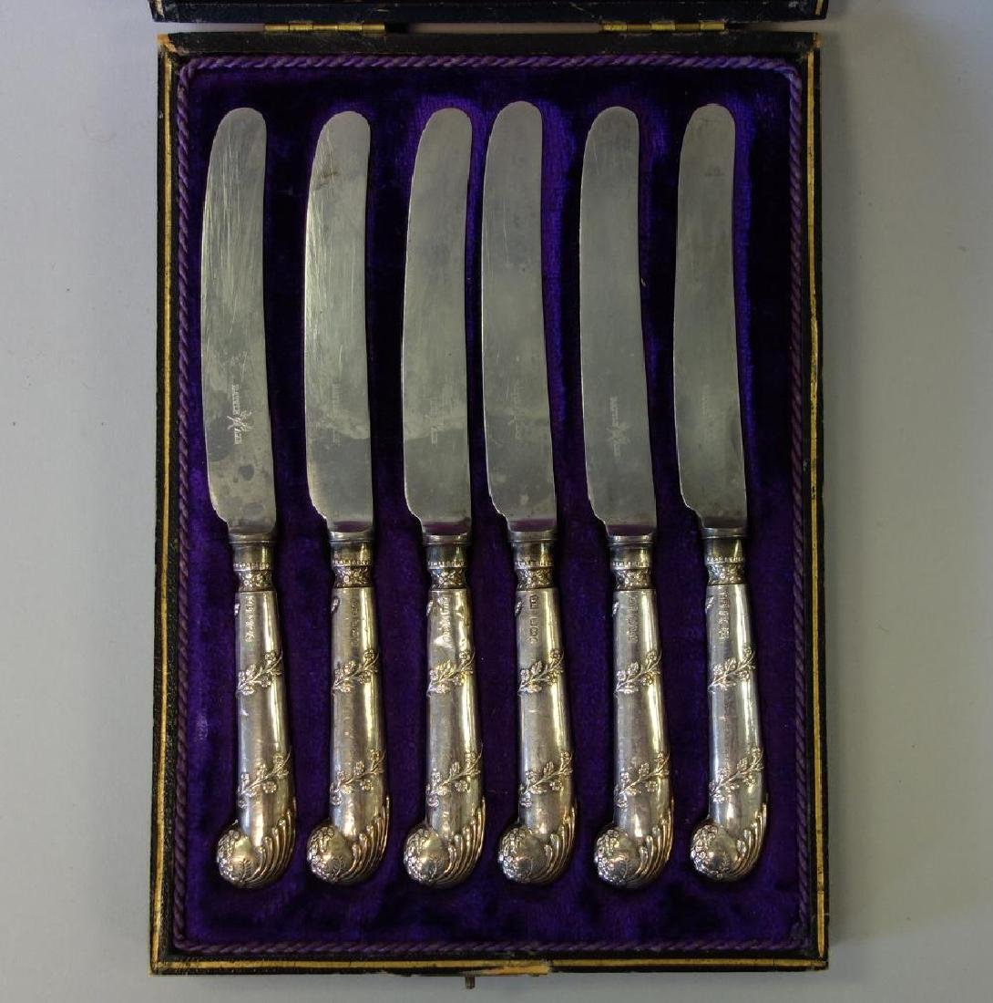 English Sterling Handled Fruit / Pate Knives,