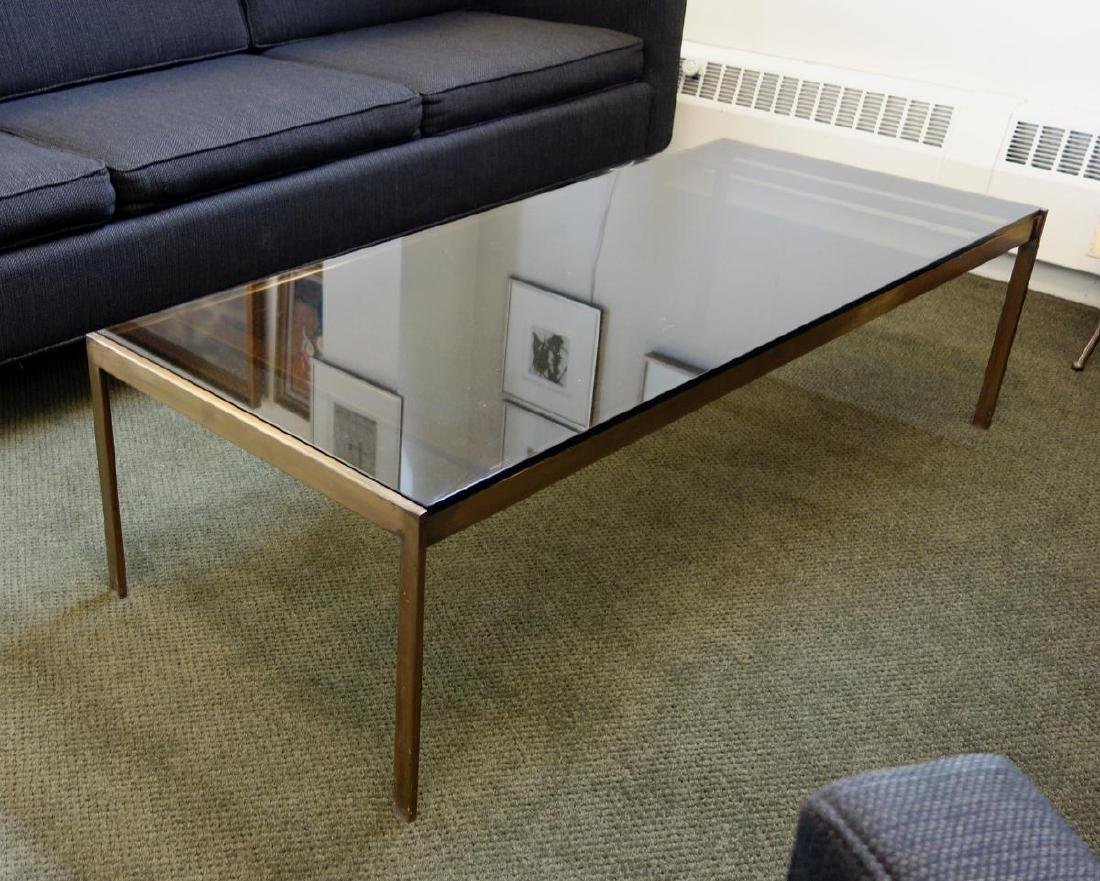 Mid-Century Black Glass & Brass Coffee Table