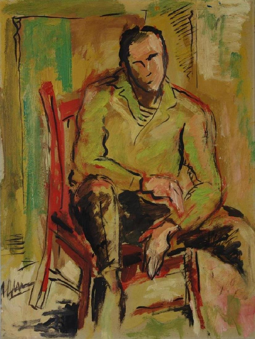 Mid Century Painting, Young Man in a Chair
