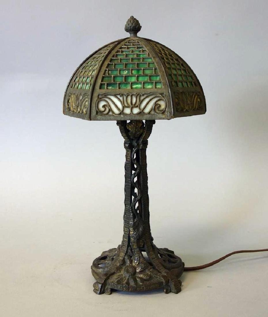 Slag Glass Table Lamp, Patinated Metal Base