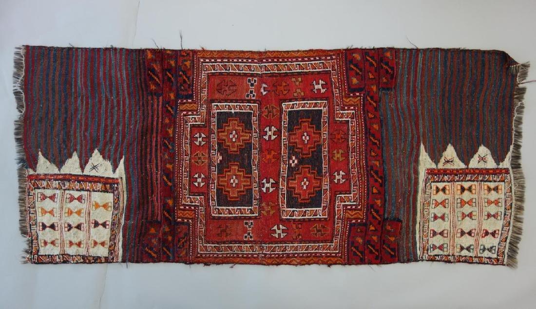 Persian Kurdish Camel-Saddle Kilim Flat Weave Rug