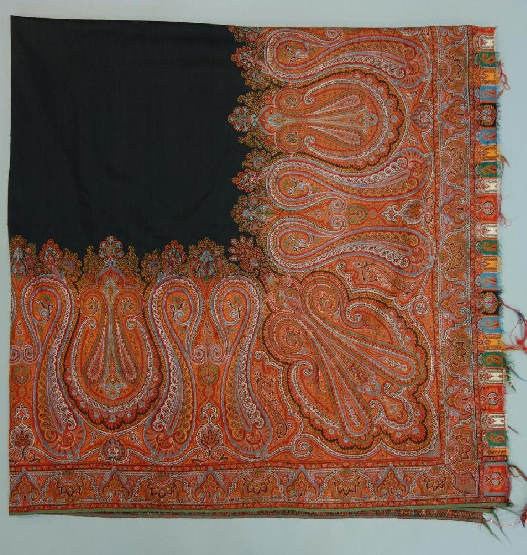 Scottish Woven Wool Paisley Shawl, Square Form,