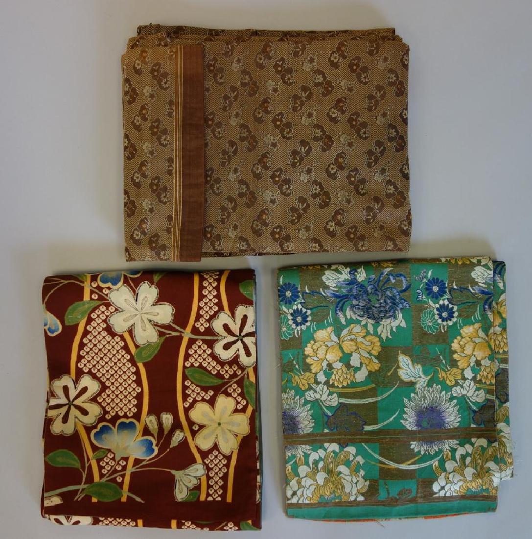 3 Japanese Fine Embroidered Silk Obis