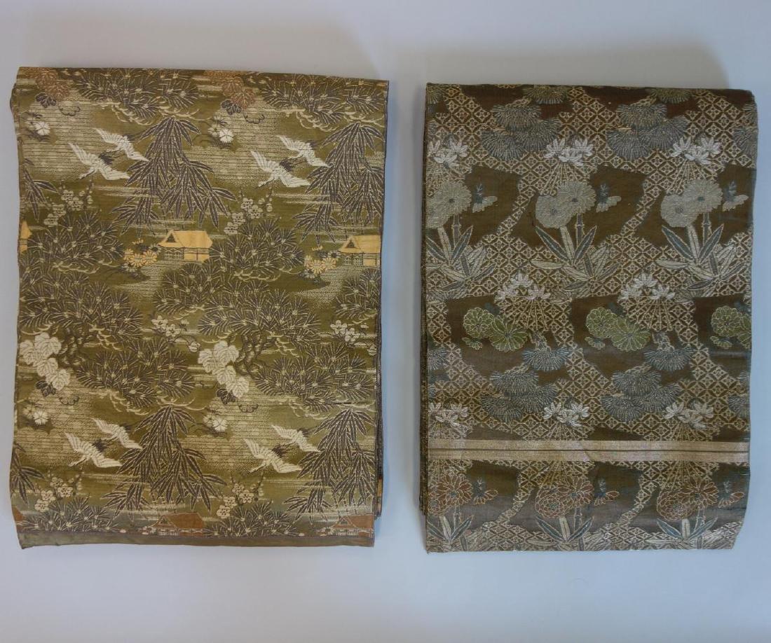 2 Japanese Fine Embroidered Silk Obis