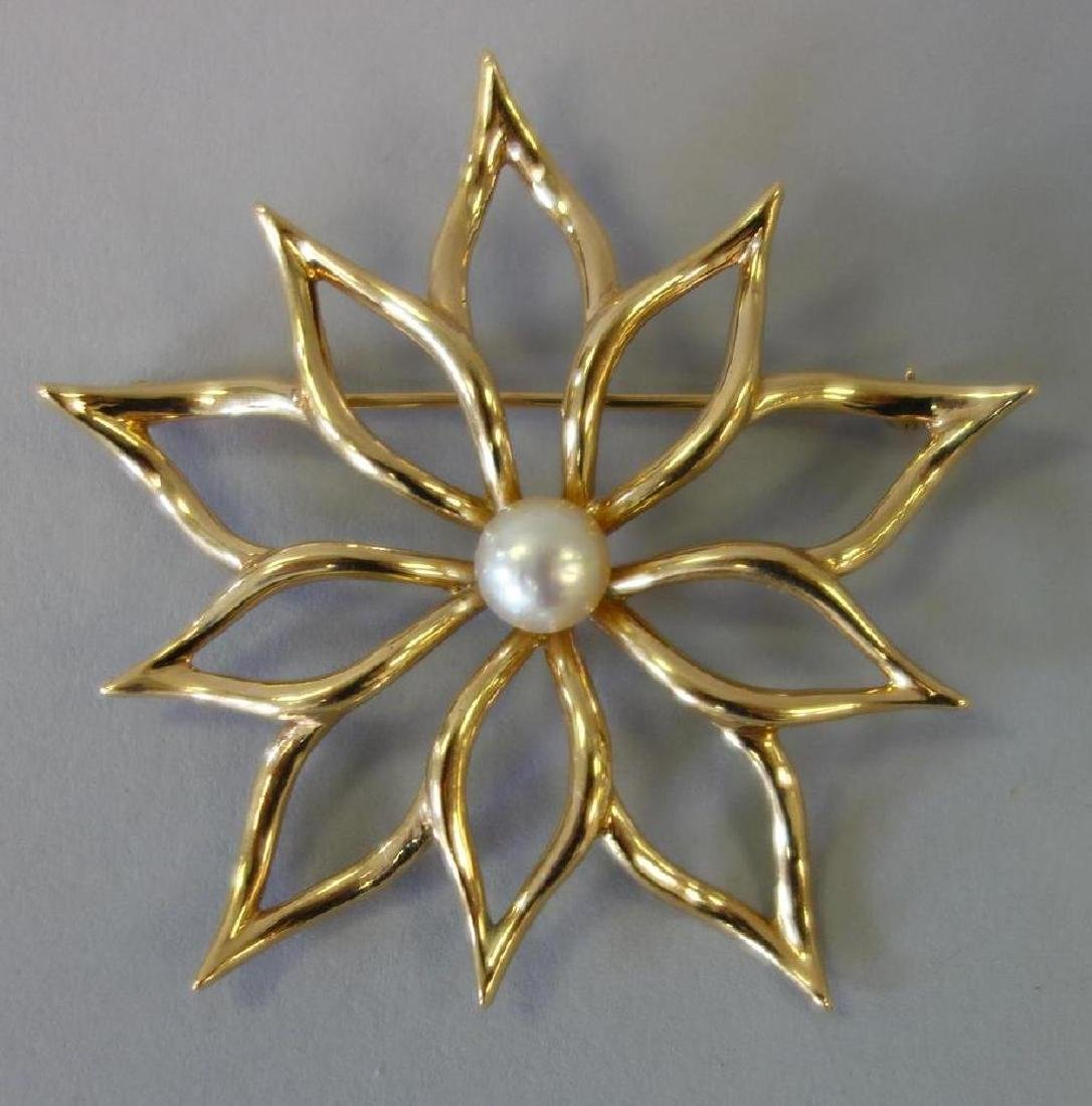14K Gold & Pearl Floral Formed Brooch