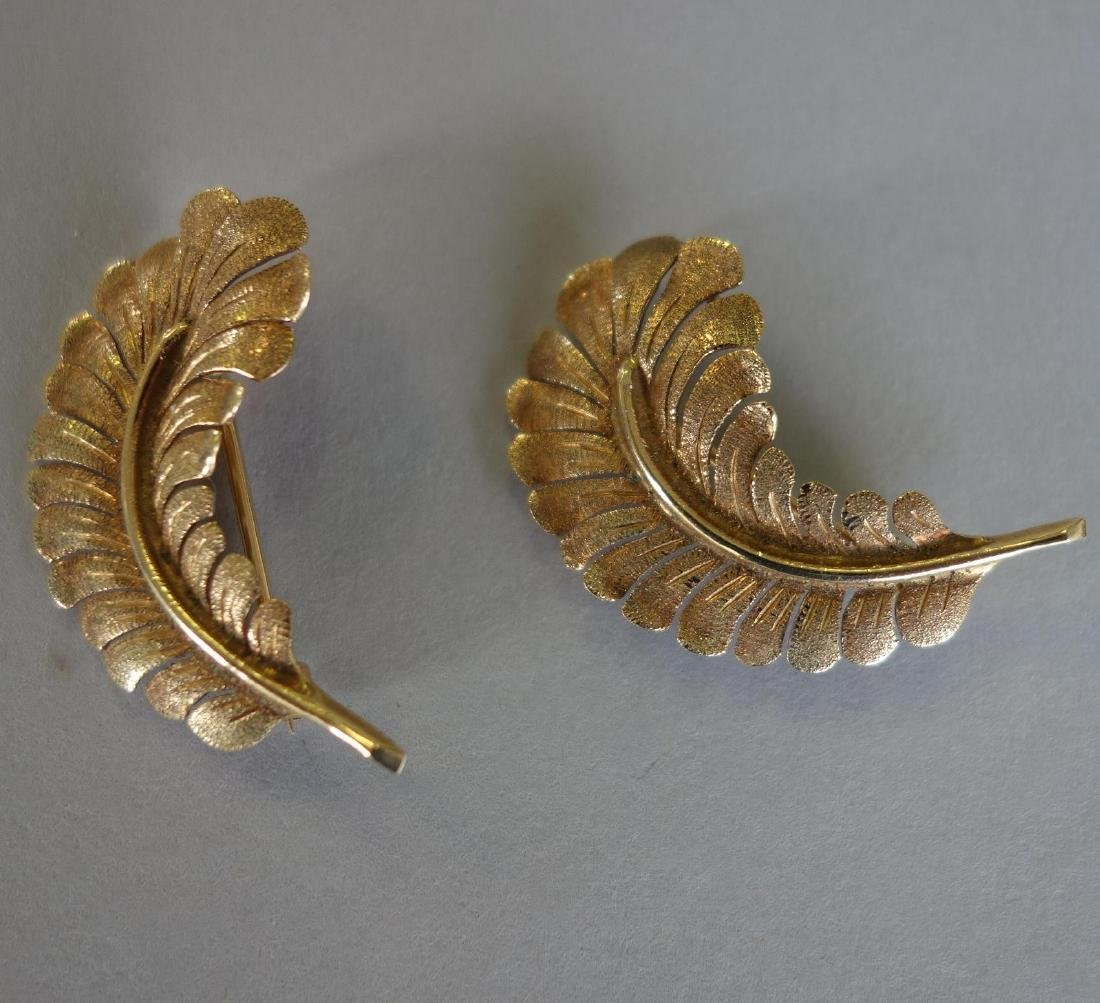 2 14K Gold Feather Plume Brooch Pins