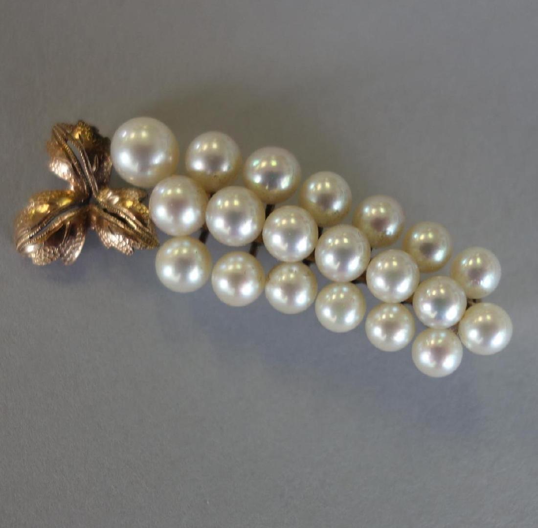 Cultured Pearl & Rose Gold Grape Cluster Pin