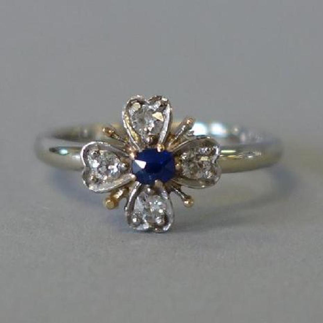Diamond & Sapphire White Gold Ring
