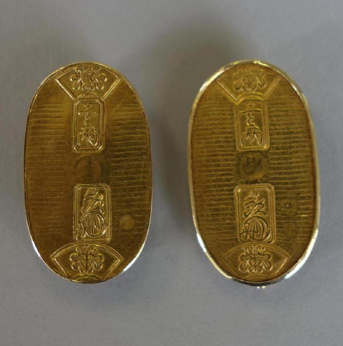2 18K Gold Chinese Brooch Pins
