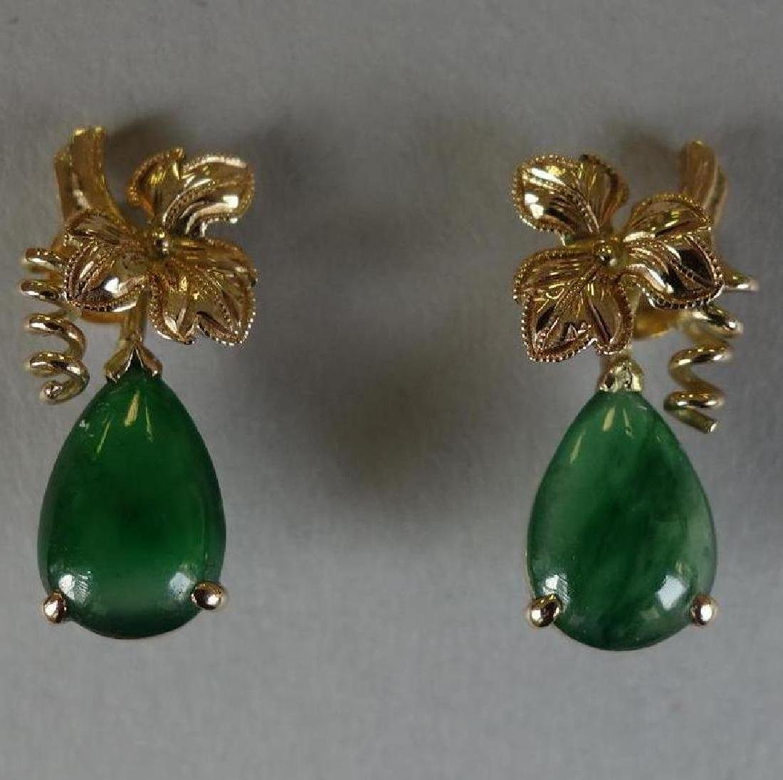 Chinese Natural Apple Green Jadeite Earrings