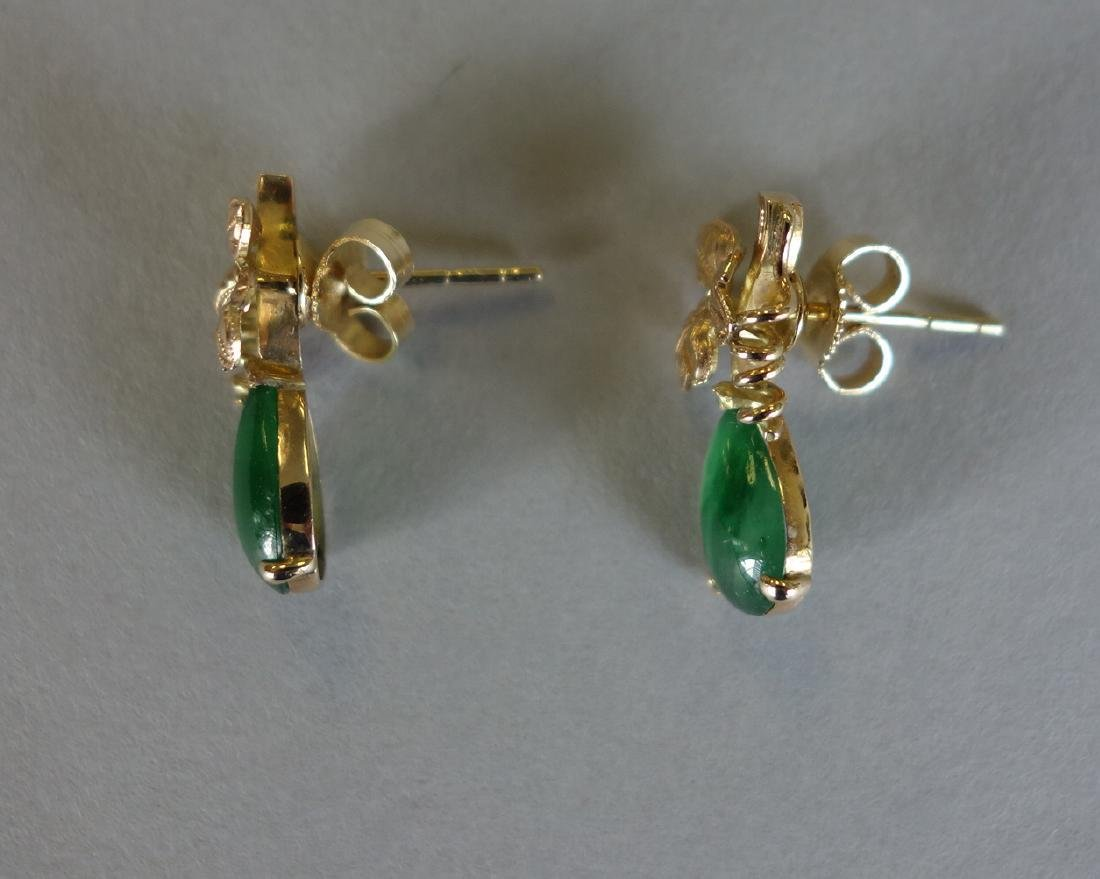 Chinese Natural Apple Green Jadeite Earrings - 3